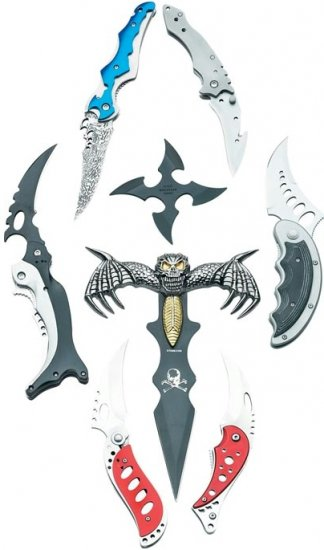 SKFAN8/00: Maxam 8 pc Fantasy Knife Collection in Blow Molded Case