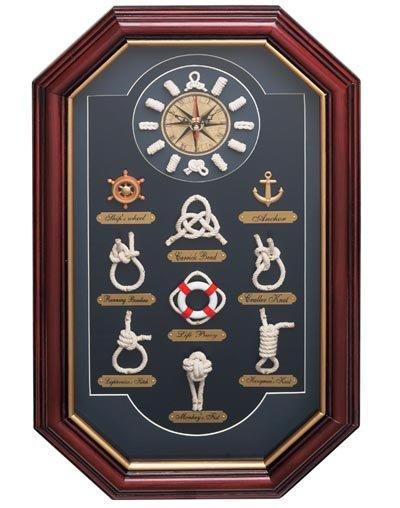 HHKNOTCLK/00: SALE Quartz Clock in Nautical Knots Shadow Box