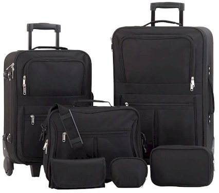 LUP6/00: SALE-Embassy 6 pc Black Luggage Set