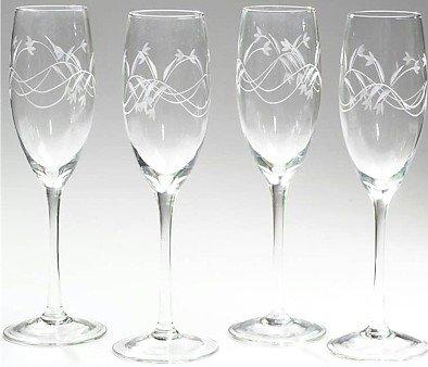 KTCHAM4/00: Wyndham House 4pc Etched Stemware Champagne Glass Set - Limited Supply