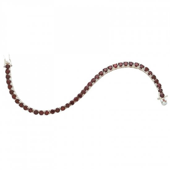 JEBRG3/00: Sterling Silver Bracelet with 42 Genuine Garnets