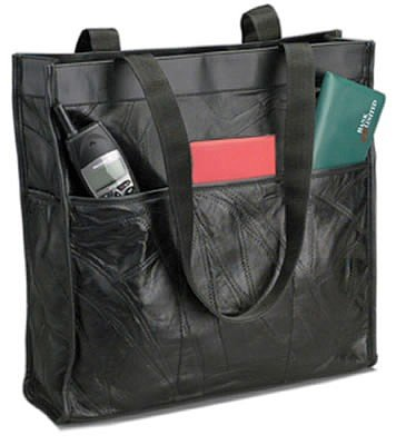 LULSHOP2/00: Embassy Italian Stone Design Genuine Sewn Leather Shopping/Travel Bag