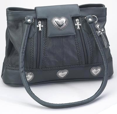 LUCRPUR/00: Embassy Large Genuine Sewn Leather Purse with Cross Key Chain and Pulls