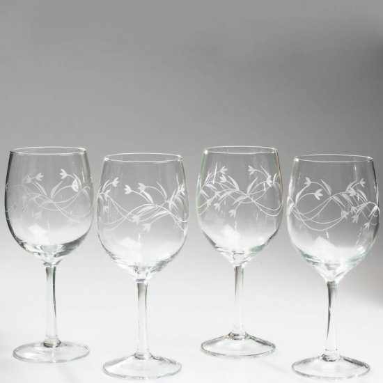 KTWATER/00: Wyndham House 4pc Etched Stemware Water Glass Set - Limited Supply