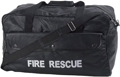 LUFIRE/00: Fire Rescue Pebble Grain Genuine Leather Duffle Bag