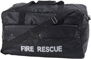 LUFIRE/00: Fire Rescue Pebble Grain Genuine Leather Duffle Bag