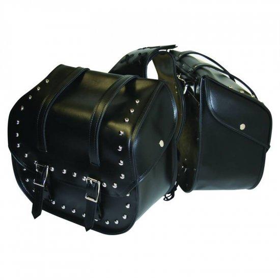 LUMSADDLE/00: SALE: Diamond Plate 2 pc Studded Motorcycle Saddle Bag
