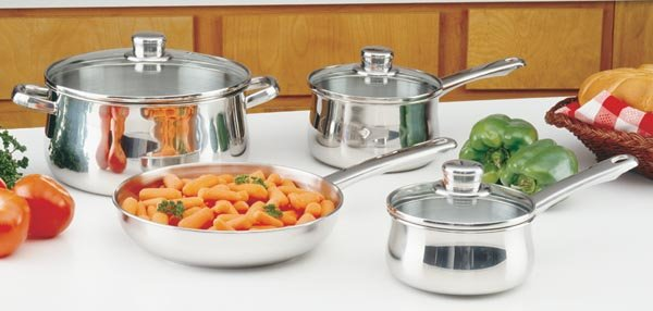 KTGL72: SALE-Chef's Secret 7pc Stainless Steel Cookware Set