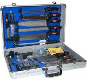 CTCASE21/00: SLITZER 21 pc Cutlery Set in Aluminum Case