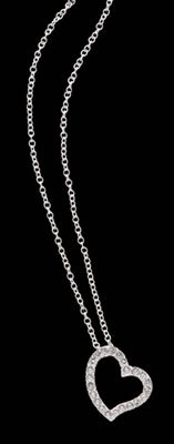 """JENSMHRT/00: Pendant with 23 Crystals on an 18"""" Silver-tone Chain"""