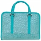 DBBLUA1/00: SALE: Gigi Chantal Blue Faux Alligator Design Bible Cover with Cross Zipper Pull