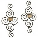 LB54003/00: Luca Bella Home Danielle Wrought Iron Wall Sconce 2pc Set