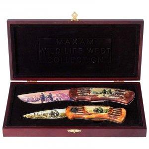 SKWEST/00: Maxam® 2pc Wild West Lockback Knife Set