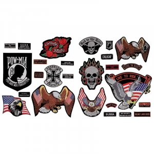 GFPATCH26/00: Wholesale Diamond Plate� 26pc Embroidered Motorcycle Patches