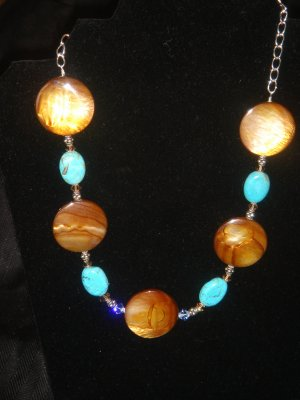 Turquoise, sterling silver , Broze Mother of pearl Necklace