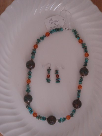 Turquoise and Amber Necklace with earrings