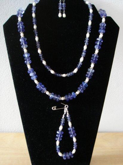 Blueberry Quartz Necklace, bracelet, & Earrings