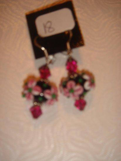 Pink lampwork beads with swarovski crystals earrings