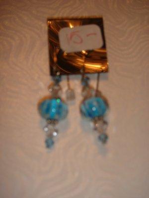 Blue lampwork beads and swarovski crystals