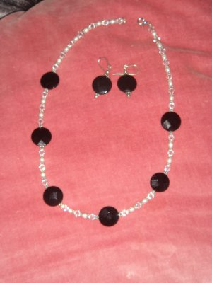 black onyx , swarovski crystals, necklace & earrings