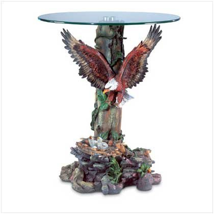 Wings Spread Eagle Glass Top Accent Table-FREE SHIPPING