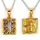 Sterling Silver 2 Tone CZ Cross/Bible Locket Necklace-FREE SHIPPING