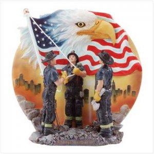 Firemen 9/11 Raising American Flag/Eagle Plate-FREE SHIPPING