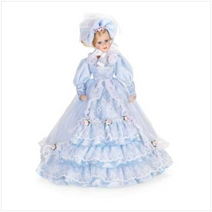 Debutante Porcelain Doll in Frilly Blue Dress-FREE SHIPPING