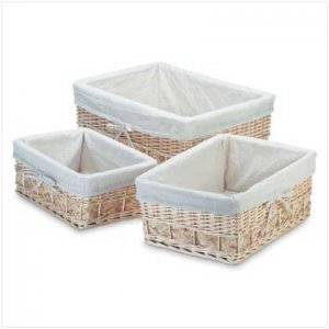 White Lined Nesting Willow Baskets-Set of 3-Free Shipping