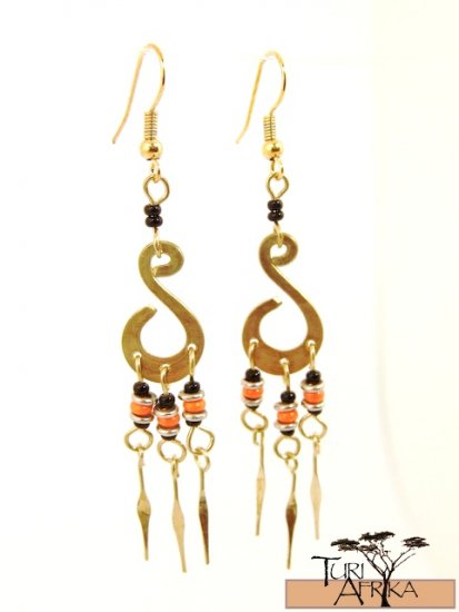 Product ID: 4     Brass Earrings W/ Orange and Black Beads