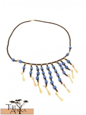 Product ID: 6     Brass & Blue Bead NecklaceBrass & Blue Bead Necklace