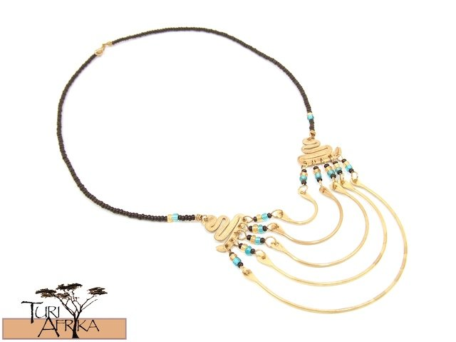 Product ID: 8     Brass Necklace W Blue and Gold Beads