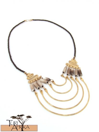 Product ID: 9     Brass Necklace W/ Porcupine Quills