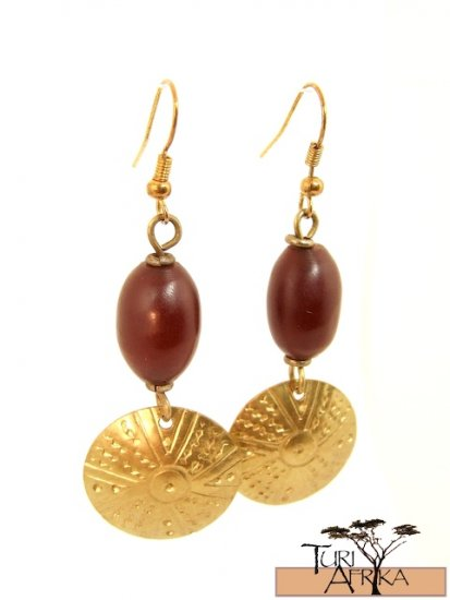 Product ID: 11     Small Brass Disk W/ Red Oval Kenyan  Amber Earrings