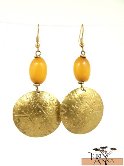 Product ID: 12     Brass Disk Earrings W/ Yellow  Kenyan  Amber