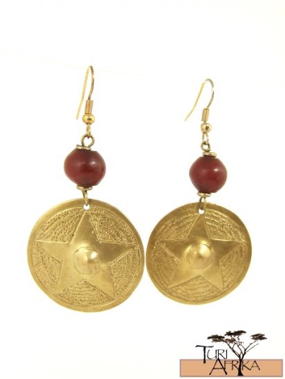 Product ID: 16     Brass Disk Earrings W/ Red Kenyan Amber