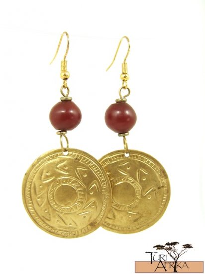 Product ID: 17     Brass Disk Earrings W/ Red Kenyan  Amber