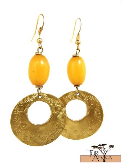 Product ID: 20     Brass Disk W/ Hole Earrings W/ Yellow Kenyan Amber