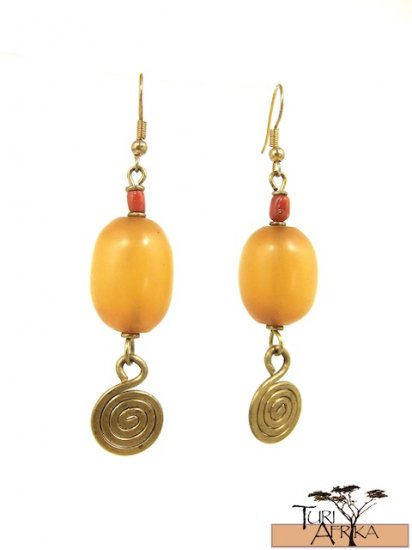Product ID: 22     Small Brass Spiral Earrings W/ Yellow Kenyan Amber