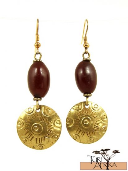 Product ID: 24     Brass Disk Earrings W/ Red Kenyan  Amber