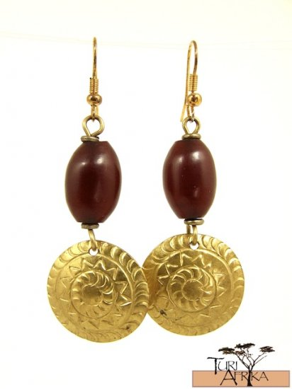 Product ID: 25     Brass Disk Earrings W/ Red Kenyan Amber