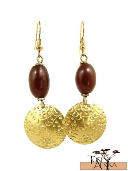 Product ID: 26     Brass Disk Earrings W/ Red Kenyan Amber
