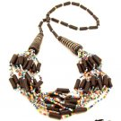 Product ID: 34     Ceramic Black w/ Brown Bead Necklace