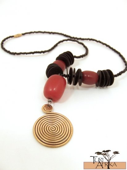Product ID: 41     Large Brass Swirl Necklace  with Red Kenyan Amber and Black Flat Coconut Disks
