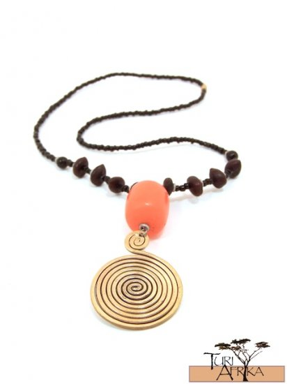 Product ID: 43     Large Brass Swirl Necklace, Orange Kenyan Amber, Seeds