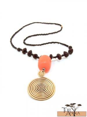 Product ID: 43     Large Brass Swirl Necklace, Orange Kenyan Amber, Seeds