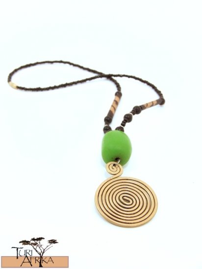 Product ID: 44     Large Brass Swirl Necklace, Light Green Kenyan  Amber, Painted Wood Beads