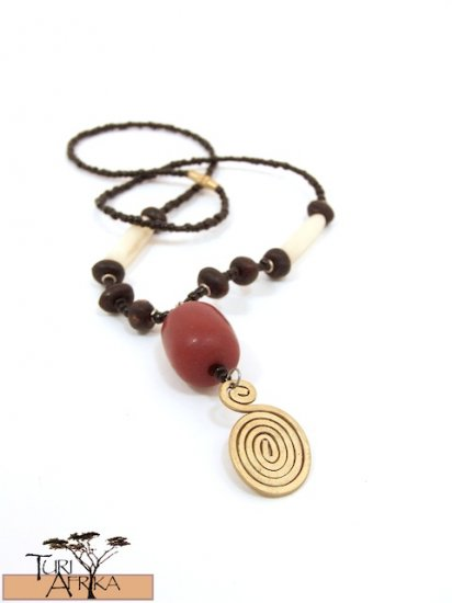Product ID: 45     Small Brass Swirl Necklace, Red Kenyan Amber,  White Bone