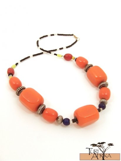 Product ID: 46     Large Orange Kenyan Amber Necklace, Metal Beads, W/ Blue, Red, Yellow Beads
