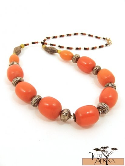Product ID: 47  Medium Orange Kenyan Amber Necklace, Metal, w/ yellow beads, black, red beads